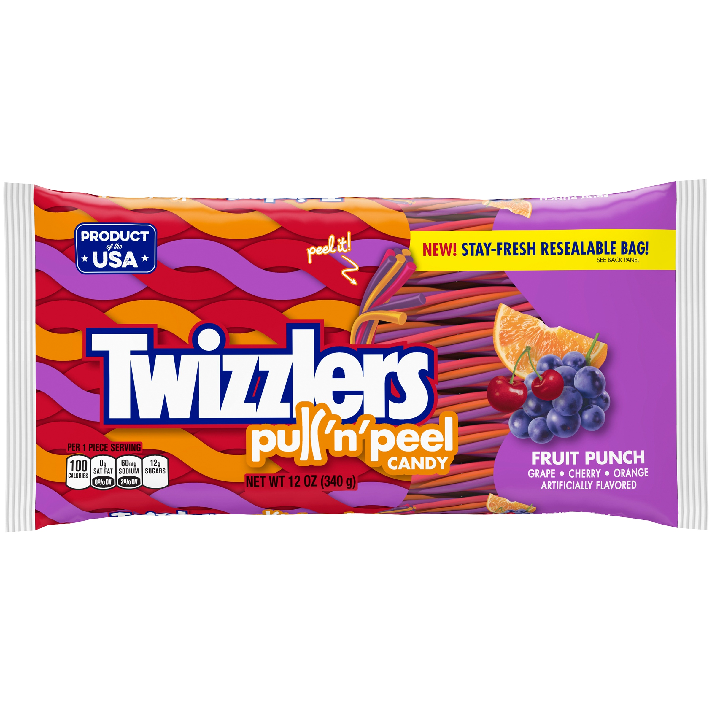 Twizzlers Pull 'N' Peel Candy Fruit Punch (340g)-0