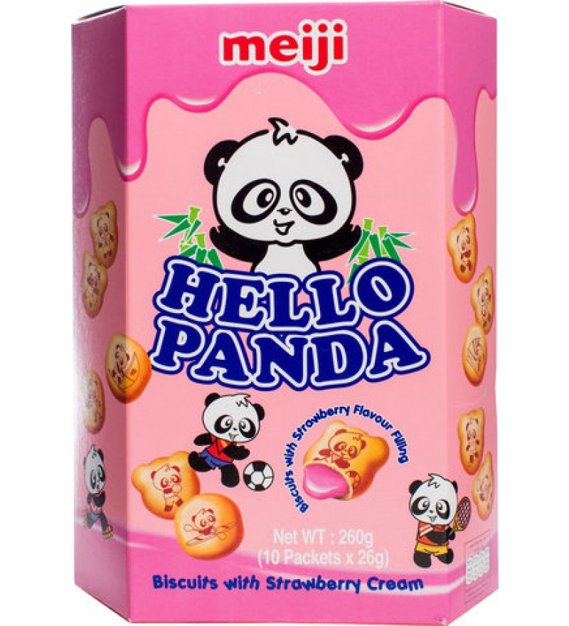 Meiji Hello Panda Strawberry biscuits (260g)-0