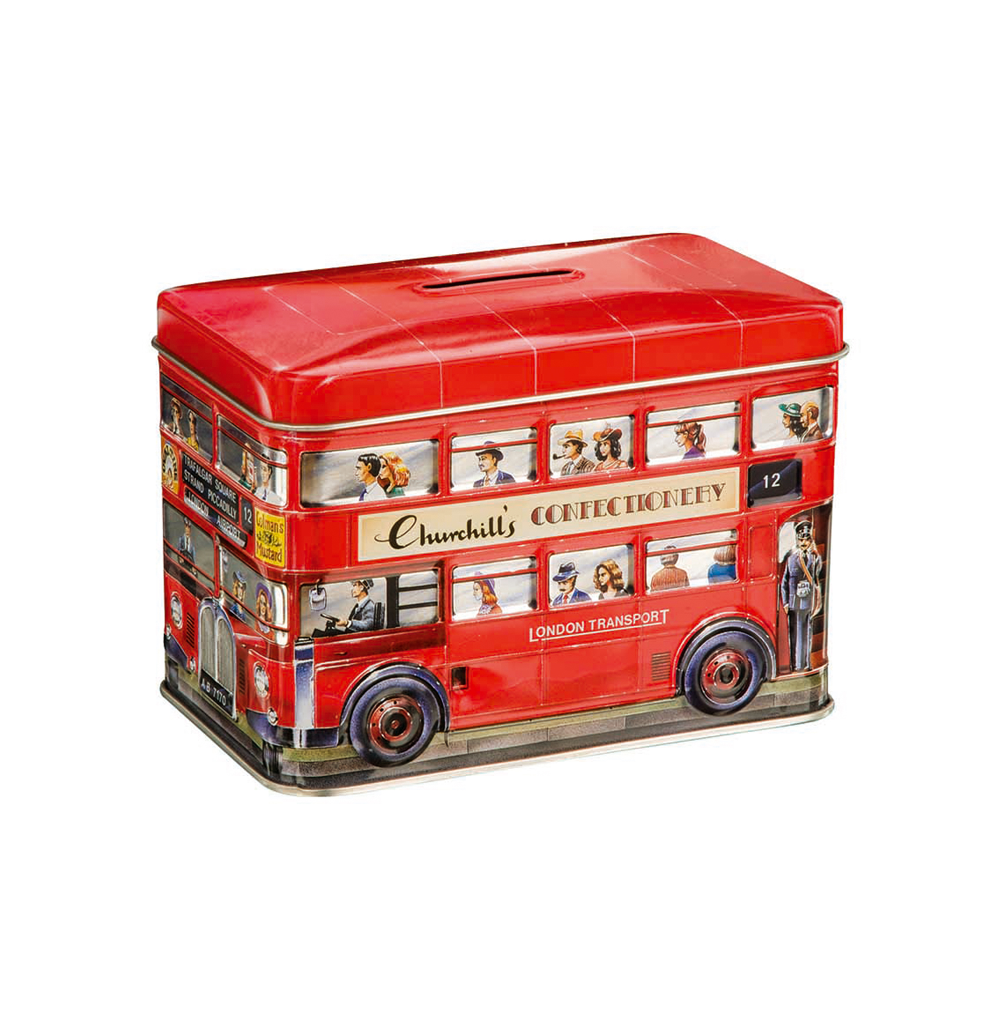 Churchill's London Bus Money Box with Toffees (200g)-0