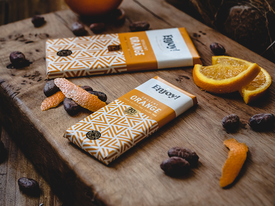 Enjoy Opulent Orange Organic Gluten & Dairy Free Vegan Chocolate Bar (70g)-6899