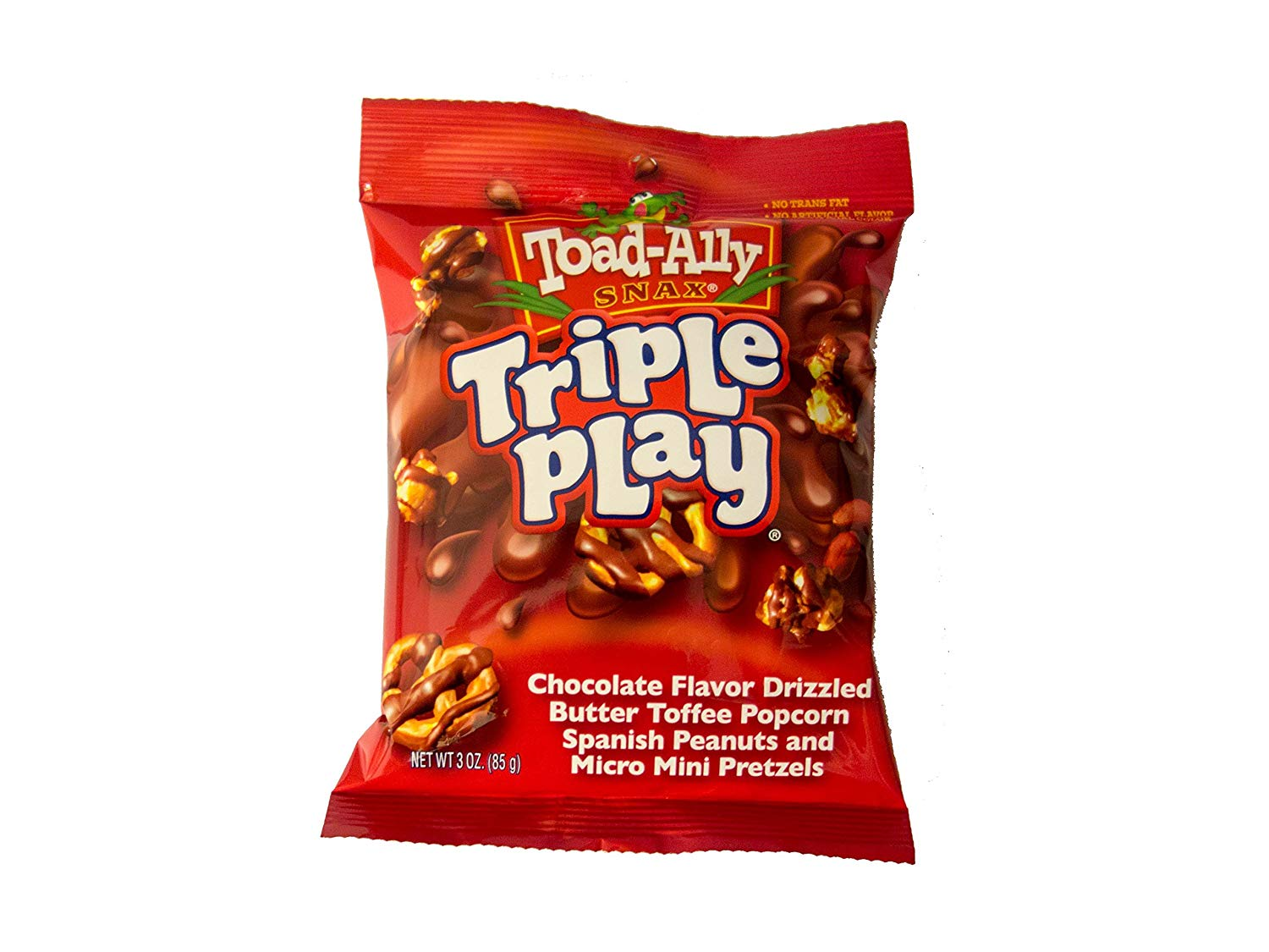 Toad-Ally Triple Play Chocolate Drizzled Toffee Popcorn, Spanish Peanuts & Pretzels (85g)-0