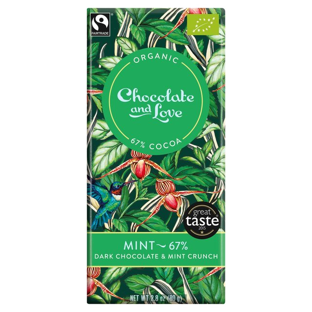 Chocolate and Love Fairtrade Organic Mint 67% Dark Chocolate (80g)-0