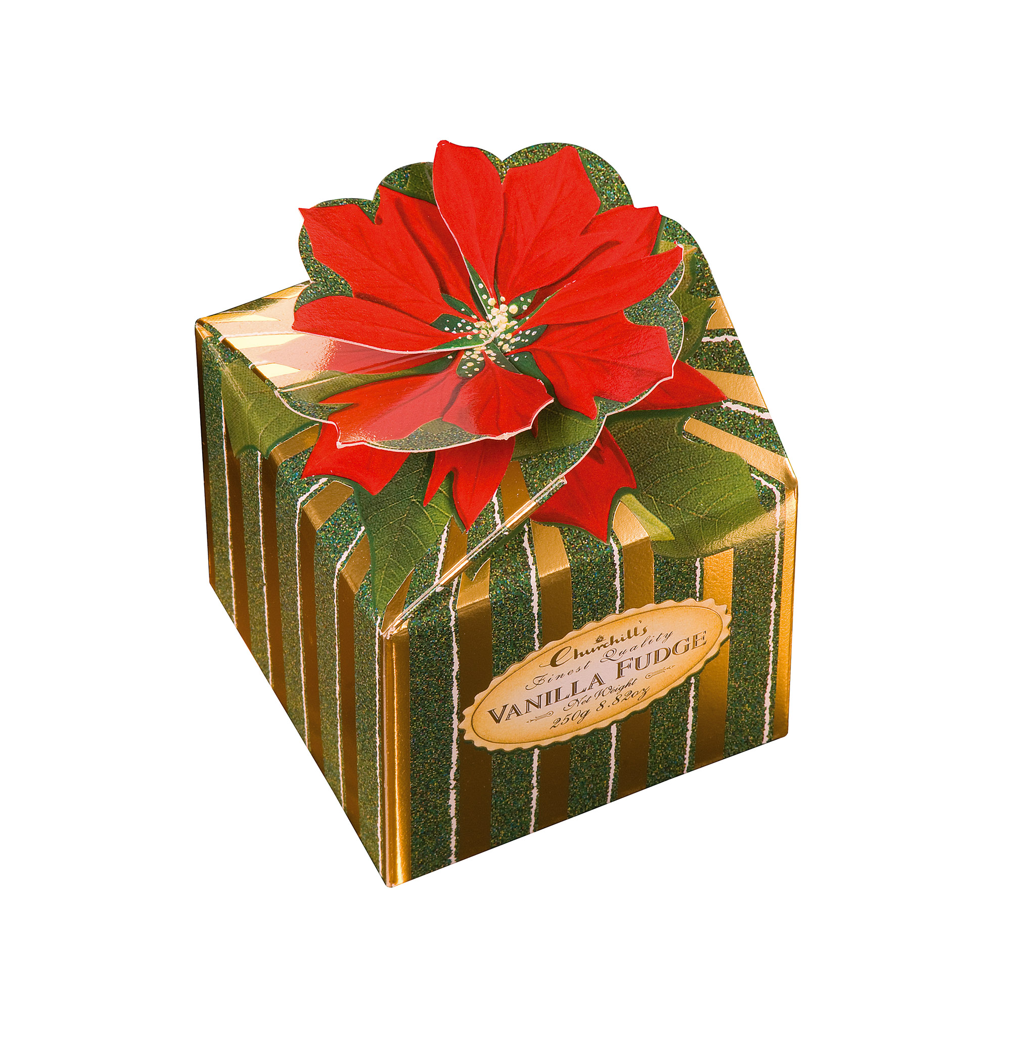 CHURCHILL'S POINSETTIA BOX - VANILLA FUDGE (250G)-0
