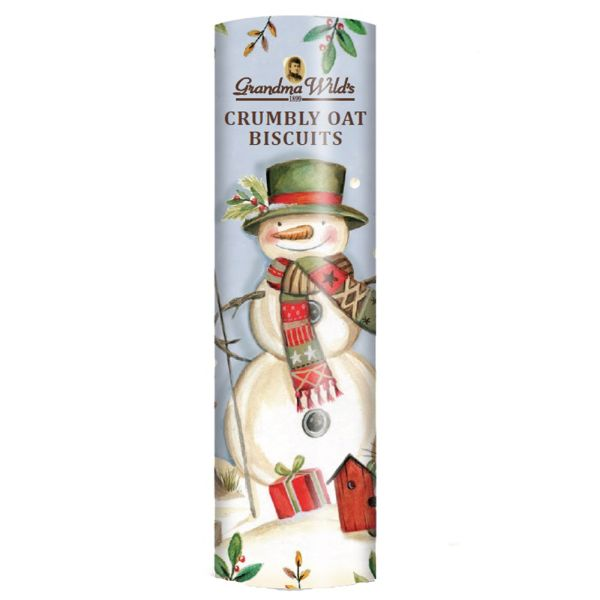 Grandma Wild's Crumbly Oatie Large Snowman Biscuit Tube (200g)-0