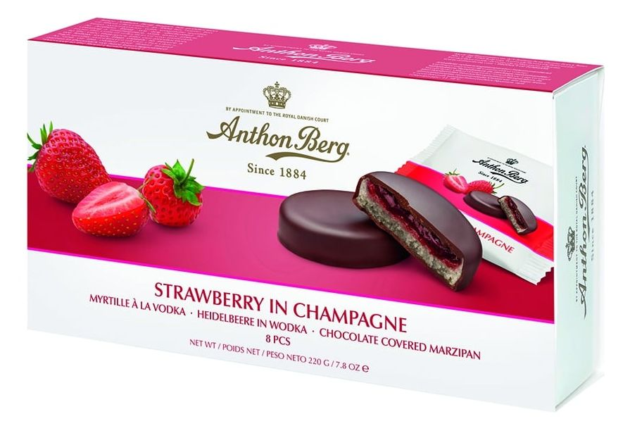 Anthon Berg STRAWBERRY IN CHAMPAGNE Chocolate Covered Marzipan (220g)-0