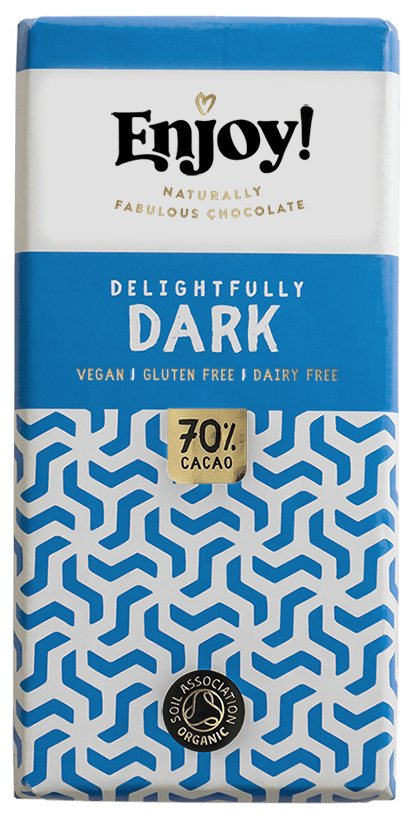 Enjoy Delightfully Dark Organic Gluten & Dairy Free Vegan Chocolate Bar (35g)-0