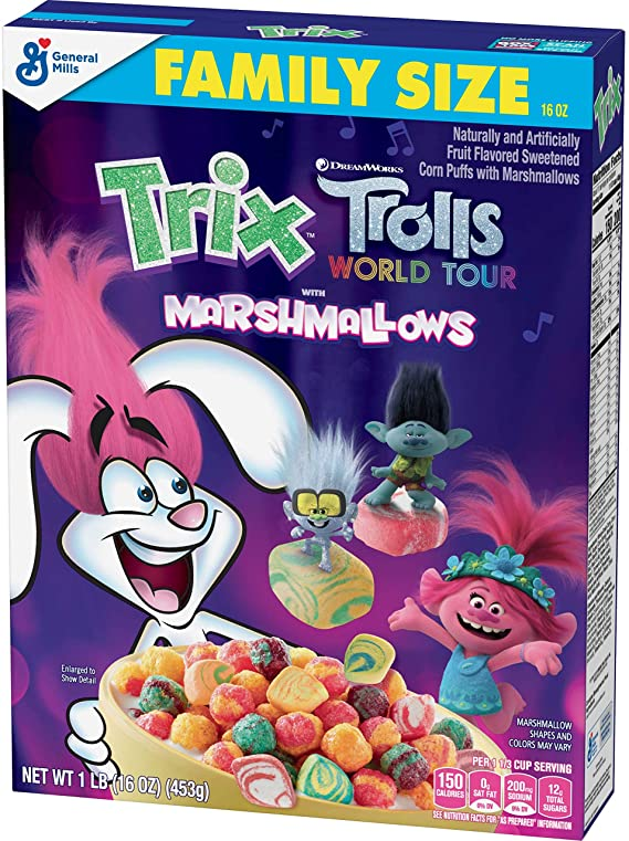 Trix Trolls with Marshmallows Breakfast Cereal 453g-0